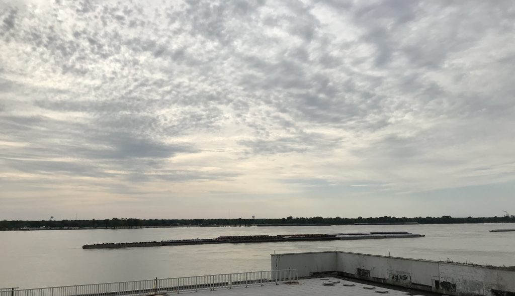 Balcony view of the Mississippi River in Baton Rouge