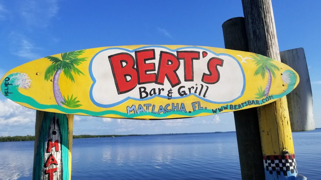 Brightly colored surf board greets guests at Bert's Bar and Grill in Matlacha